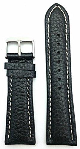 24Mm Medium Padded, Black Shrunken Grained Leather, White Stitches Watch Band