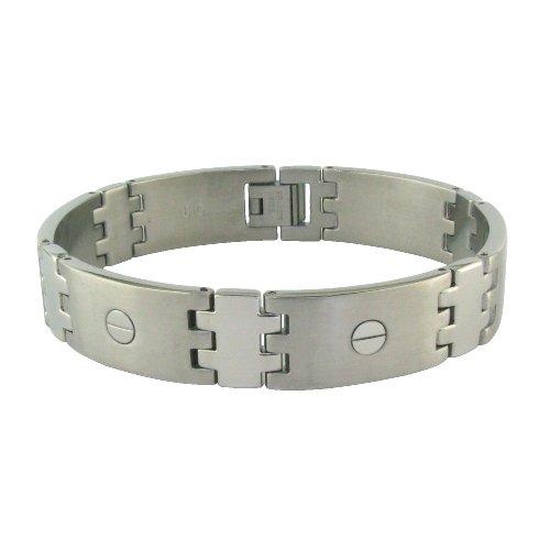 "Titanium Men's Link Bracelet with Screws, 8"""
