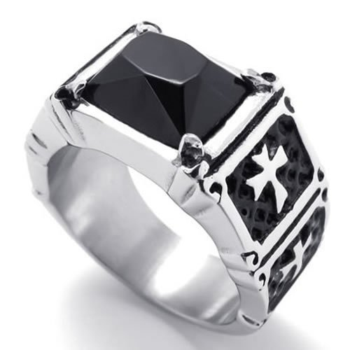 KONOV Jewelry Mens Stainless Steel Cross Ring - Silver Black (Available in Sizes 8 - 13) - Size 11 (with Gift Bag)