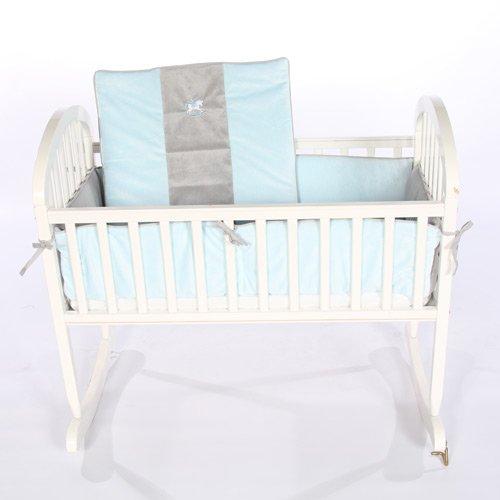 Minky Rocking Horse Cradle Bedding - Color: Blue/Grey Size: 18x36