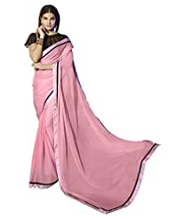 Pink Color Chiffon Saree With Stone Work And Lace Border