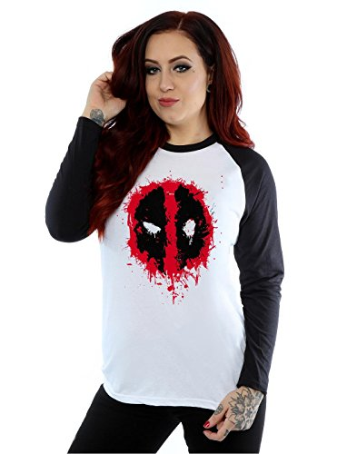 Marvel Donna Deadpool Splat Face Camicia a maniche lunghe da baseball XX-Large Bianco nero