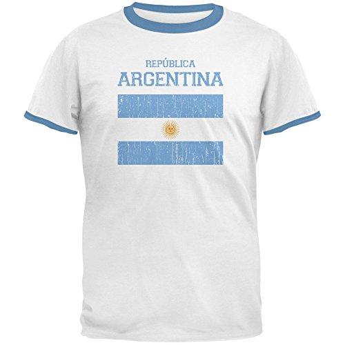 Coppa del mondo Distressed Flag Republica Argentina bianco/Sky Blue t-shirt Ringer uomo-grande