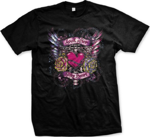 Look After My Heart Mens Tattoo T-Shirt, Heart With Flowers Wings And Chains Old School Love Tattoo Mens Shirt, Xx-Large, Black