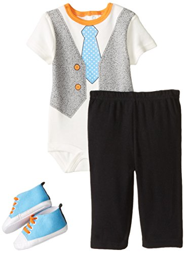 BON BEBE Baby-Boys Newborn Vest and Tie 4 Piece Pant Set with Sneakers