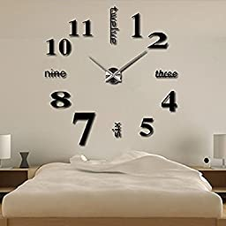 Alrens_DIY(TM)Luxury Personalized English Letters Numbers Combined Design Modern DIY Frameless 3D Large Big Mirror Surface Effect Wall Clock Watches Living Room Bedroom Office Meeting Room Décor Decoration Self-adhesive Decor Wall Sticker Creative Art De