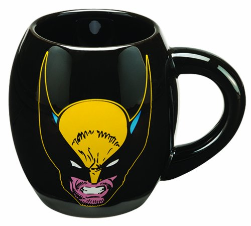 Vandor 26263 Marvel Wolverine 18 Oz Oval Ceramic Mug, Black, Yellow, And Red