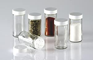 Glass Spice Jars- Set of Six Glass Spice Bottles