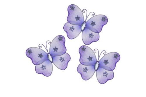 Hanging Nylon Butterfly Craft Nursery Bedroom Girls Room Ceiling Wall Decor, Wedding Birthday Party Baby Bridal Shower Decorations - Mini Nylon Butterfly - Set Of 3 - Purple Ella Butterflies