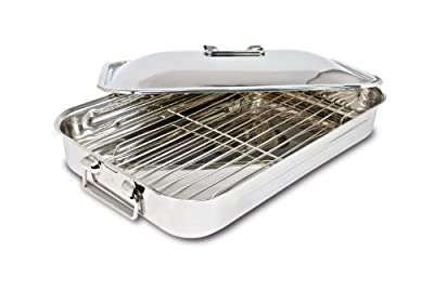 Cuisinox PAN-4026 Covered Rectangular Roaster Pan with Rack, 40 by 26cm