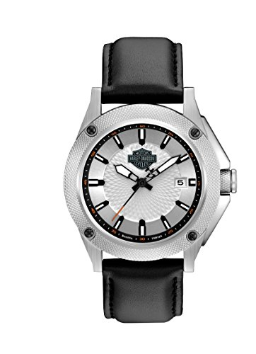 Harley Davidson Men's Quartz Watch with Silver Dial Analogue Display and Black Leather Strap 78B125