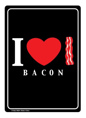 Brand New Novelty I Heart bacon Metal Sign -