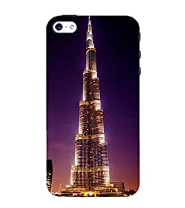 NIGHT VIEW OF A SKYSCRAPER GLOWING IN LIGHT 3D Hard Polycarbonate Designer Back Case Cover for Apple iPhone 4