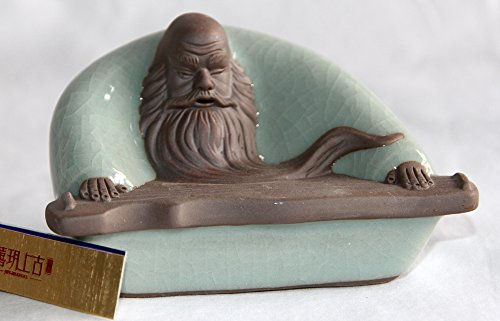 Joy-Shangku All Handcraft Pale Green Glaze Ceramic Tea Pet/Decoration --Guzheng Buddah (Ge Kiln)