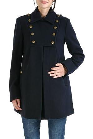 Momo Maternity Women's 'Stella' Military Style Wool Blend Coat - Navy