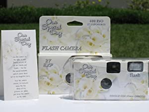 10 Pack Calla Lily Wedding Party Disposable Cameras with Gift Box and Matching Tents, 27 Exp.