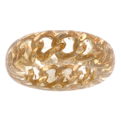 Resin Wrapped Brass Link Ring, Size 6