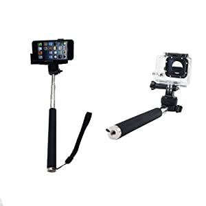ufcit tm monopod for gopro hero1 2 3 black with free adapter handheld monopod. Black Bedroom Furniture Sets. Home Design Ideas