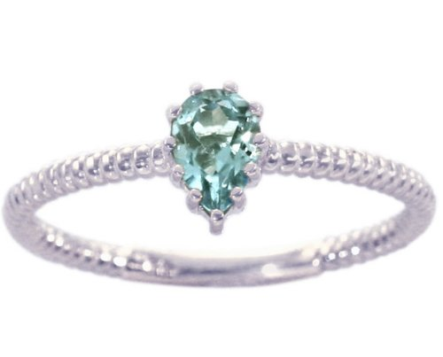 14K White Gold Pear Gemstone Solitaire Stackable Ring-Aquamarine, size8