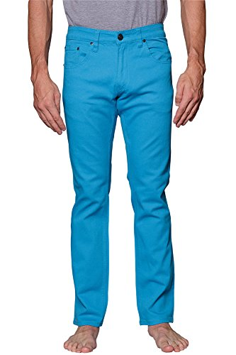 Victorious Mens Slim Fit Colored Stretch Jeans GS21 - TURQUOISE - 32/32 (Turquoise Pants compare prices)