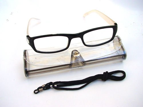 BLACK & WHITE READING GLASSES WITH NECK CORD & CASE RANGE OF STRENGTHS D523 (+1.0)