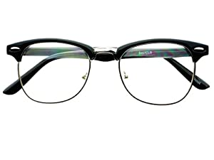 Half Frame Vintage Glasses : Amazon.com: Geek Nerd Retro Vintage Style Clear Lens Half ...