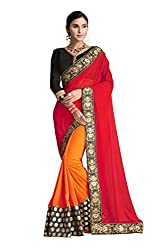 RUDDHI WOMEN'S DESIGNER RED & ORANGE FASHION GEORGETTE SAREE