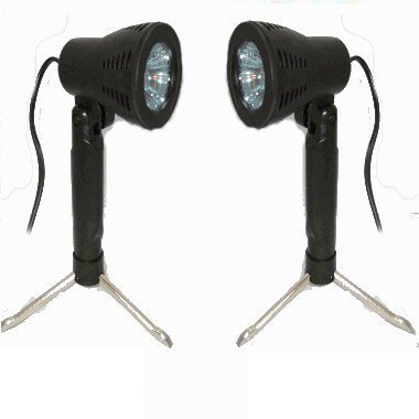 Ex-Pro Photo Professional Mini Day (Natural) Light Set Mini Lighting kit for Photo Tents for White back photography with stands, True Day Light Specific GU10C bulbs included to give clean white daylight. 240v, Mini Light Kit suitable for 30cm, 40cm Tents,
