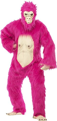 [Adult Mens Animal Fancy Dress Deluxe Gorilla Costume Outfit Neon Pink One Size] (Deluxe Pink Gorilla Costumes)