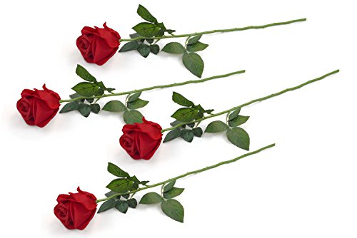 DII Artificial Silk Craft Flowers for Bouquets, Weddings, Wreaths, & Crafts, Single Closed Rose Bud Stem - Set of 4 Red
