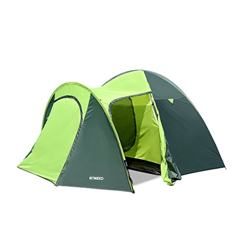 Enkeeo-Waterproof-Backpacking-Camping-Tent-4-Person-with-Carrying-Bag-Green-and-Grey
