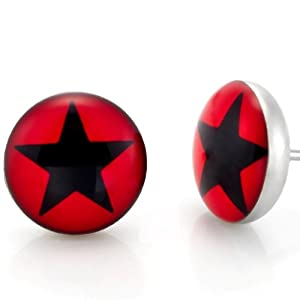 Stainless Steel Men's Star Stud Earrings Black & Red: Jewelry