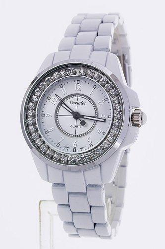 Chic Chelsea Medium Set Dial Fashion Bracelet Watch (White/Rhodium)