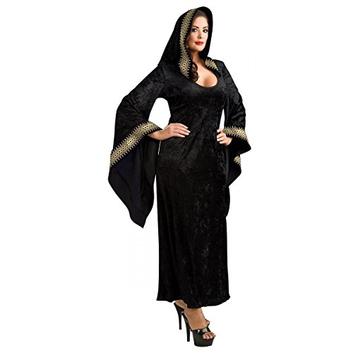 [GSG Sorceress Costume Adult Midnight Priestess Plus Size Halloween Fancy Dress] (Plus Size Dark Mad Hatter Costume)