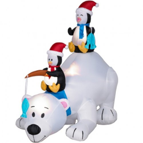 "Christmas Inflatable 71"" Polar Bear With 2 Fishing Penguins"