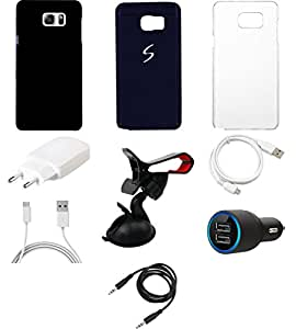 NIROSHA Cover Case Charger USB Cable Mobile Holder for Samsung Galaxy Note 5 - Combo