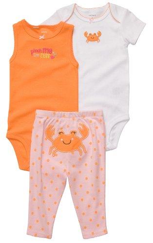 Carters 3-pc. Crab Cutie Bodysuit Set ORANGE 6 Mo