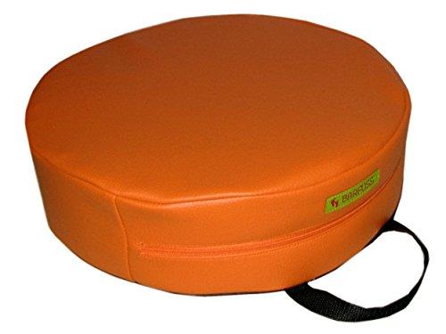 BARFUSS-Kinder-Sitzerhhung-Lederoptik-rund-in-verschiedenden-Farben-abwaschbar-Sitzhilfe-fr-Baby-Hochstuhl-Sitzerhhung-ab-2-Jahre-orange