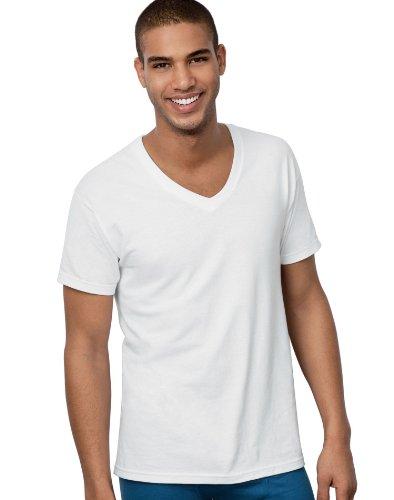 Hanes men 39 s 6 pack ultimate freshiq v neck tee white for Hanes premium men s 6pk v neck t shirt white