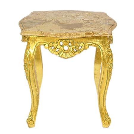 Casa Padrino Barock Beistelltisch Gold mit cremefarbener Marmorplatte 55 x 55 cm x H 55 cm