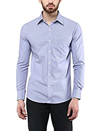 American Crew Men's Full Sleeve Slim Fit Shirt With Pocket (Blue)