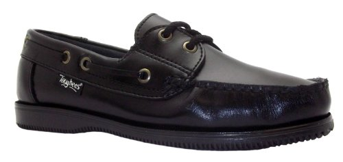 Toughees Boy's Docksider Plain Black Lace Up Boat Style Leather School Shoes