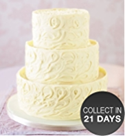 3 Tier White Chocolate Swirl Wedding Cake