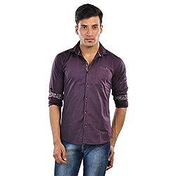 CREEDS Men's Purple Cotton Casual Shirt(Large)