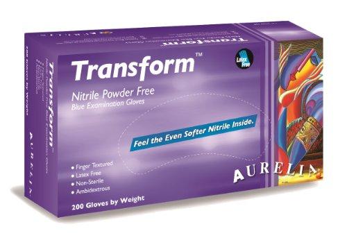 Aurelia Transform Nitrile Glove, Powder Free, 9.5″ Length, 3.2 mils Thick, Medium (Pack of 2000)