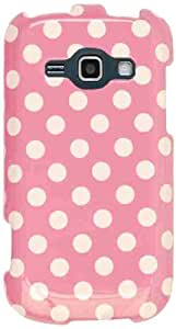 Cell Armor Snap-On Case for Samsung Galaxy Ring M840 - Retail Packaging - White Dots on Pink
