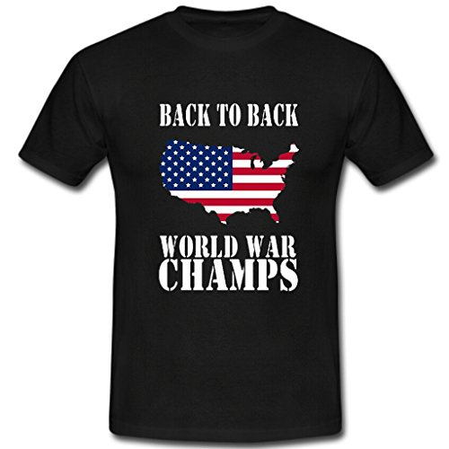 COY Print Back to Back World War Champs Mens Cotton Crew Neck Slim Fit T-Shirt black xl