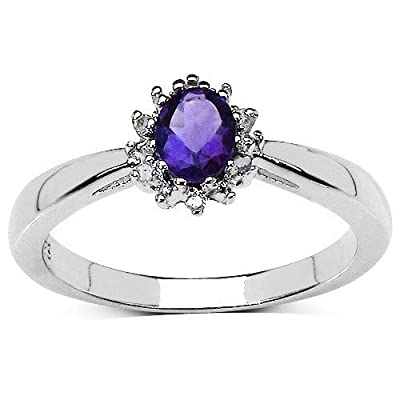 The Amethyst Ring Collection: Beautiful Sterling Silver Oval Amethyst & Diamond Cluster Engagement Ring