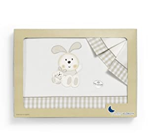 Sábanas para Cuna Conejo espiral beige - Medida estándar 60 x 120 (sabana bajera ajustable + funda almohada + encimera) de Interbaby - BebeHogar.com