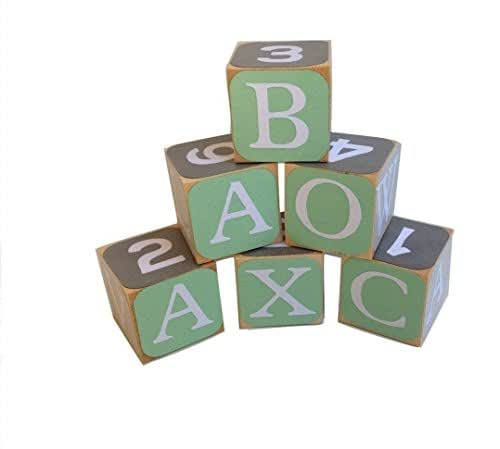 amazoncom green and gray wooden alphabet baby blocks With wooden letter blocks amazon